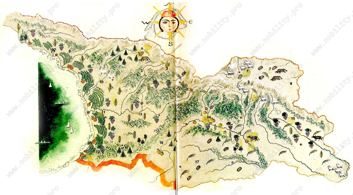 Ethnographic map of Georgia (Caucasus). Nino Brailashvili (Brailovsky)